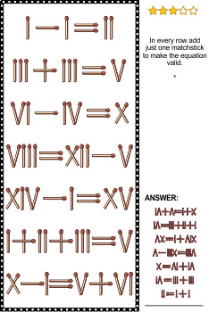 Math Puzzles with Roman Numerals and Matchsticks, Set 2, Commercial Use Allowed