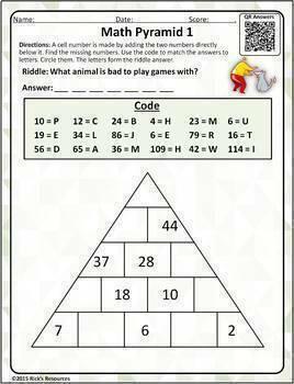 Math Puzzles Addition Subtraction Pyramids
