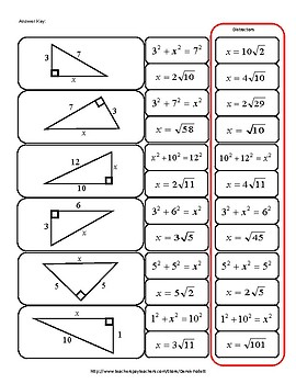 Math: Pythagorean Theorem Cut-out Activity (Reduced Radical Form)