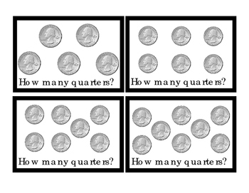 Math QUARTERS How Many Addition Numbers Up to 10 Plus Minus Equals Included 3pgs