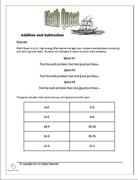 Math Quest Game- Addition and Subtraction