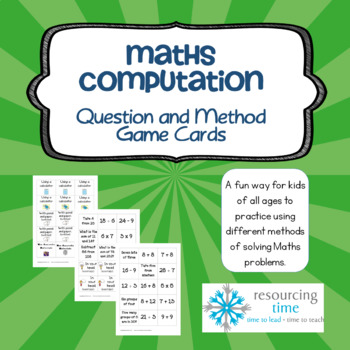 Math Computation Question and Method Game Cards