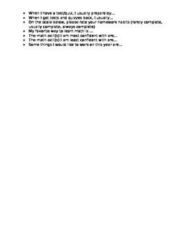 Math Questionnaire
