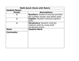 Math Quick Check with Rubric