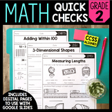 Math Quick Checks - 2nd Grade | Digital Pages Google Slide