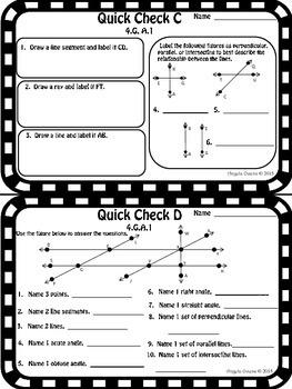 Math Quick Checks: 4th Grade Geometry Common Core