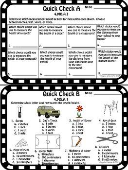 Math Quick Checks: 4th Grade Measurement and Data Common Core