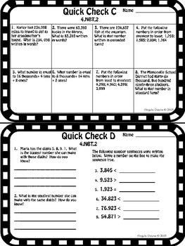 Math Quick Checks: 4th Grade Numbers in Base Ten Common Core