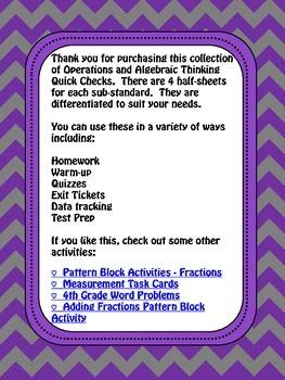 Math Quick Checks: 4th Grade Operations and Algebraic Thinking Common Core