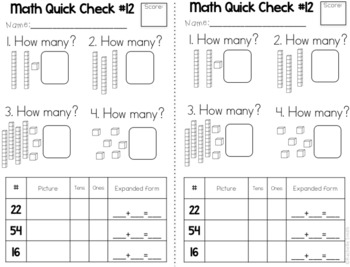 Math Quick Checks- Common Core Aligned 1st Grade