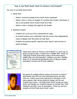 Math Quick Checks--Teacher and Student Progress Monitoring