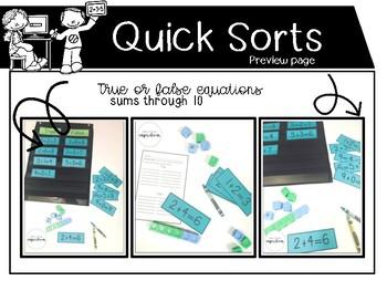 Math Quick Sorts - true or false sums through 10