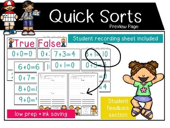 Math Quick Sorts - true or false sums through 10 *color*