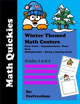 Math Quickies Winter Themed Centers Grade 3-4 ~ Place Value and Operations