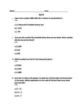 Math Quiz 2 with TEKS