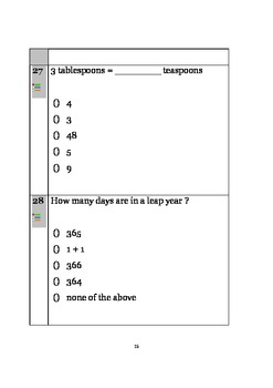 Math Quiz 3 - Geometry, Percent, Word problems, Time, Probability