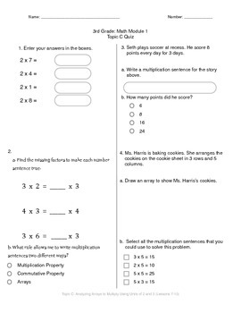 Math Quiz - 3rd Grade - Module 1 Topic C
