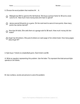 Math Quiz - 3rd Grade - Module 3 Topic A