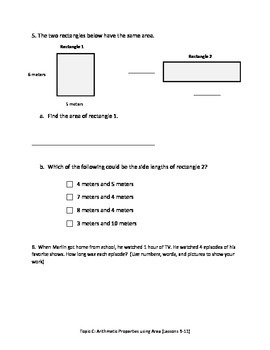 Math Quiz - 3rd Grade - Module 4 Topic C