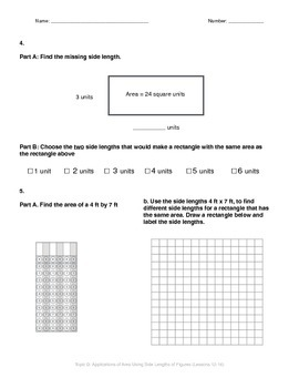 Math Quiz - 3rd Grade - Module 4 Topic D