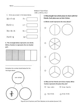 Math Quiz - 3rd Grade - Module 5 Topic B