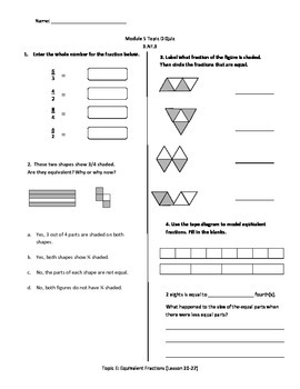 Math Quiz - 3rd Grade - Module 5 Topic E