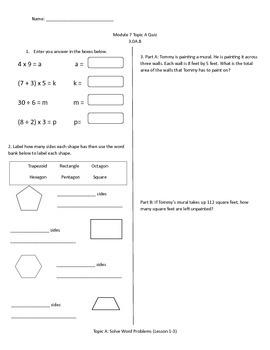 Math Quiz - 3rd Grade - Module 7 Topic A