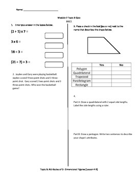 Math Quiz - 3rd Grade - Module 7 Topic B