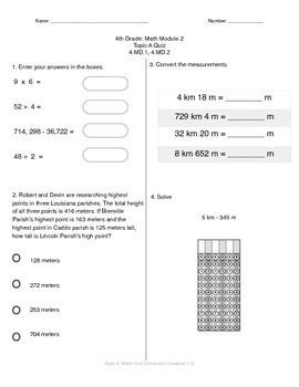 Math Quiz - 4th Grade - Module 2 Topic A