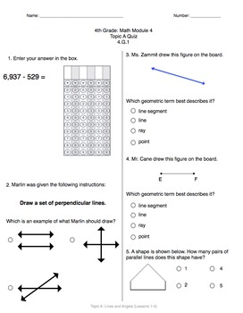Math Quiz - 4th Grade - Module 4 ALL