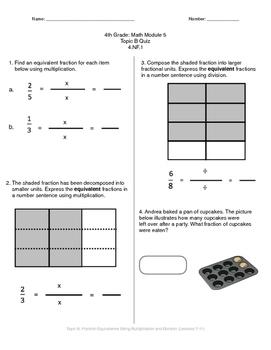 Math Quiz - 4th Grade - Module 5 Topic B
