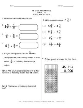 Math Quiz - 4th Grade - Module 5 Topic E
