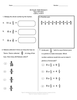 Math Quiz - 4th Grade - Module 5 Topic G and H