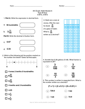 Math Quiz - 4th Grade - Module 6 Topic B