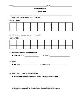 5th Grade EngageNY/Eureka Math Module 1 Topic A Quiz/Review