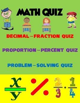 6th Grade Math Quiz Fraction-Decimal-Percent