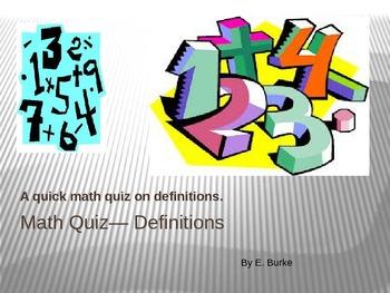 Math Quiz-Definitions