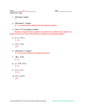Math Quiz: Intro to Complex Numbers HSN.CN.A.1