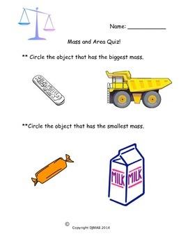 Math Quiz - Mass and Area