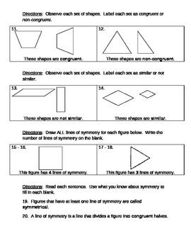 Math Quiz: Polygons, Congruent, Non-Congruent, and Similar
