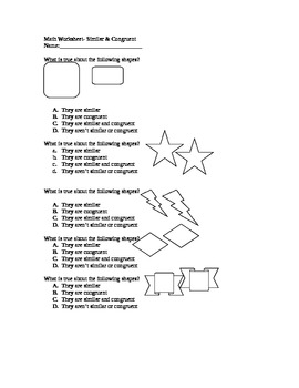 Math Quiz- Similar & Congruent Shapes