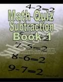 Math Quiz Subtraction book 1
