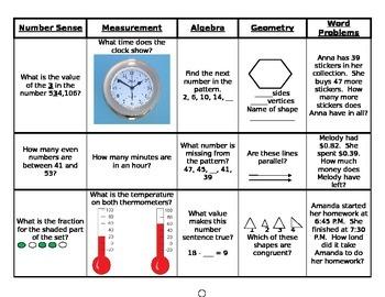 Math Quiz, number sense, measurement, algebra, geometry, and word problems