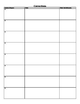 Math Quiz/Test Corrections Form
