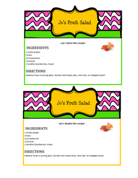 Math Quizine- Recipe Game - Set 2: Fruit Salad