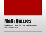 Math Quizzes: Distributive Property, One Step Equations an