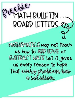 Math Quote for Bulletin Board