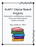 Math RAFT Choice Board Projects Multiplication Division Ar