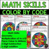 Math REVIEW SKILLS Color by Number
