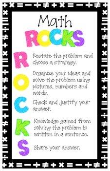 Math ROCKS Poster -  Problems Solving Steps